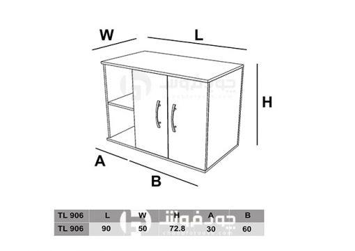ابعاد-کمد-ست-کنار-میز-اداری-TL906
