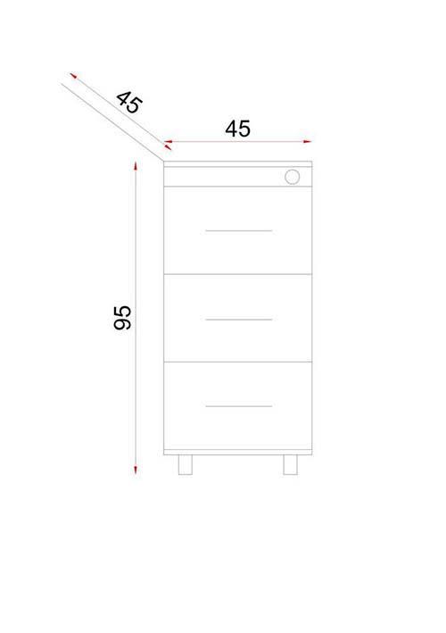 فایل سه کشو دارای قفل مرکزی