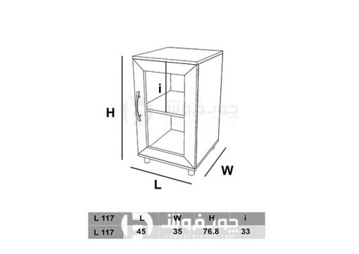 ابعاد-کتابخانه-دو-طبقه-چوبی-L117