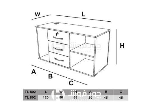ابعاد-الحاقی-کنار-میز-اداری-TL802