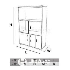 ابعاد-کتابخانه-MDF-دو-درب-L201