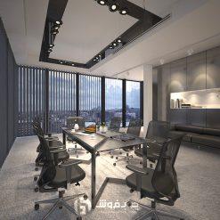 میز-کنفرانس-مدرن-شیشه-ای-فلزی