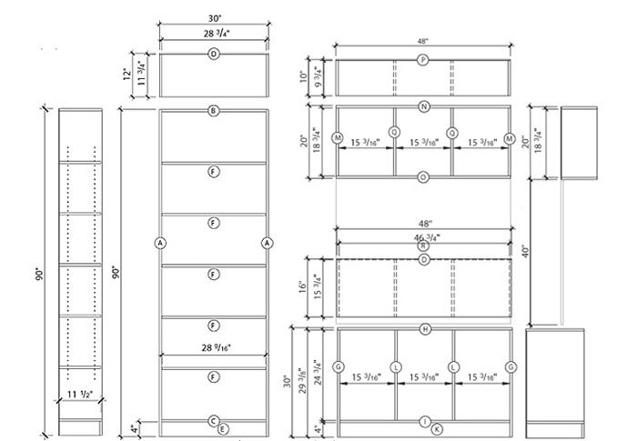 نقشه-اجرایی-قفسه-کتاب