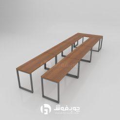 میز کنفرانس پایه فلزی گردویی