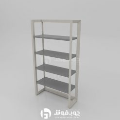 Wooden-bookcase-with-metal-base-rostic-L901