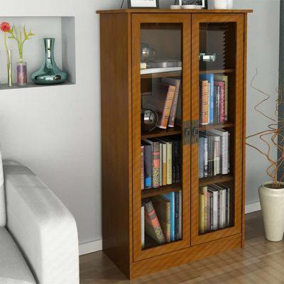 قفسه-کتابخانه-ویترینی-درب-دار